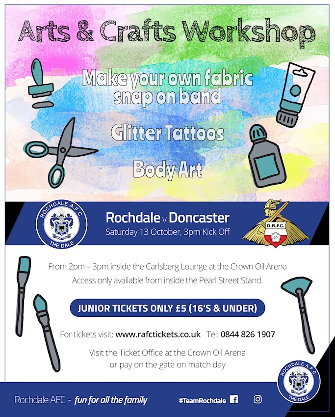 Junior Event Free Arts Crafts Workshop Before Saturday S Match Against Doncaster Rovers News Rochdale Afc